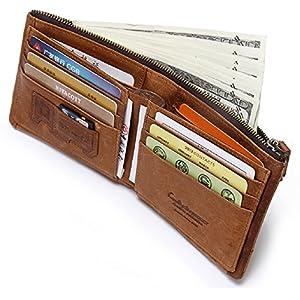 CONTACTS Men's Genuine Leather RFID Blocking Wallet (Beige)