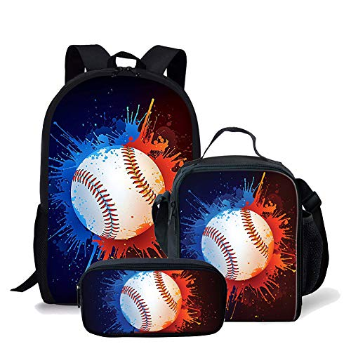 Baseball Print Boys Girls Backpack Daypack Set 3 Pieces School Bookbag Lunchbox Pencil Bag ()