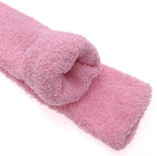 Moggei Kvinners Klassiske Varm Bomull Koselig Fuzzy Kne Høye Vinter Sokker Strømper 2 Par Oransje Og Rosa