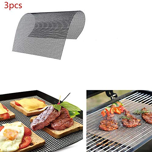 YPDF BBQ Grill Mesh Mat Set of 3-Non Stick Barbecue Grill Sheet Liners Grilling Mats Nonstick Fish Vegetable Smoking Accessories-Works on Smoker,Pellet,Gas,Charcoal Grill