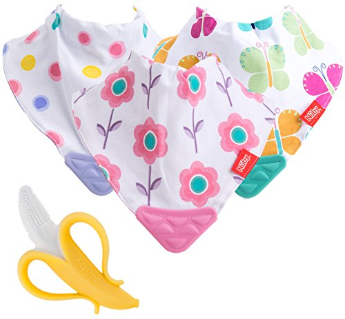 Nuby Reversible 3 Piece Teething Bib with Bonus Teething Toothbrush, Multi (Initial Baby Bib)