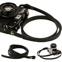 Black whole leather Camera neck shoulder strap for Film SLR DSLR RF Leica Digital