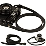 Black whole leather Camera neck shoulder strap for Film SLR DSLR RF Leica Digital