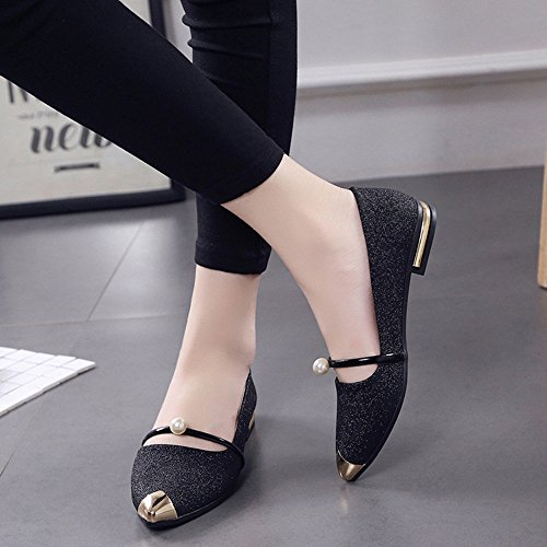 wuayi Women Single Shoes Pointed Toe Ladise Shoes Casual Low Heel Flat Black SYZbbp