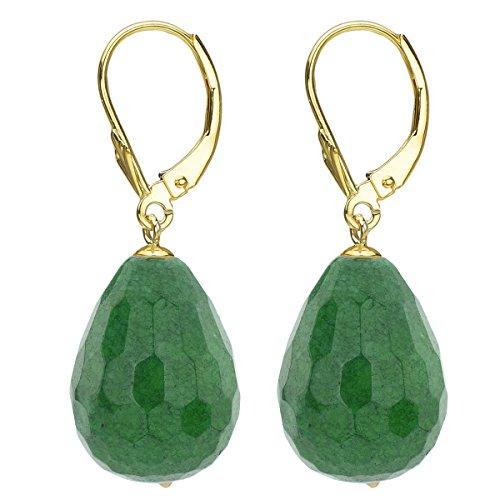 14k Yellow Gold 15x20mm Teardrop Shape Simulated Green Agate Lever-back Earrings