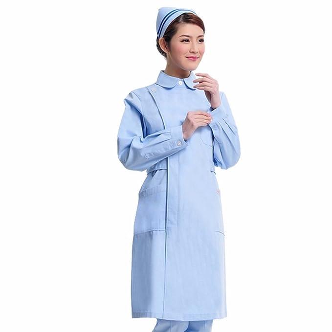 Xuanku Enfermera Largo Invierno Farmacia Salón De Belleza Productos Belleza Ropa Abrigo Blanco Collar Ropa De Abertura Lateral: Amazon.es: Ropa y accesorios