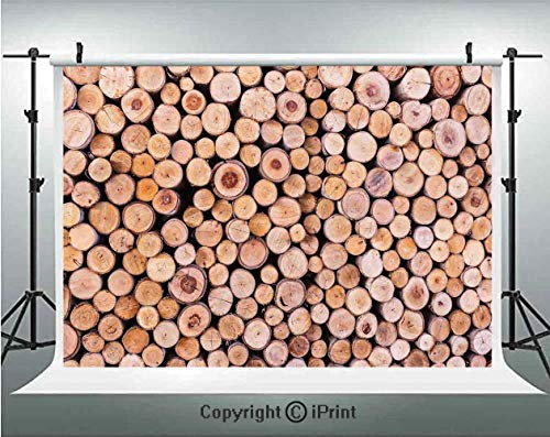 Rustic Home Decor Photography Backdrops Mass of Wood Log Forest Tree Industry Group of Cut Lumber Circle Stack Image,Birthday Party Background Customized Microfiber Photo Studio Props,5x3ft,Cream