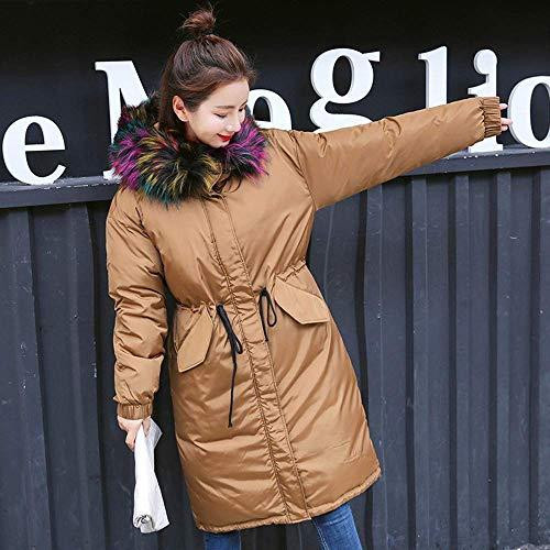 Warm Donna Da Palla colore Con Cappuccio Invernale Cappotto In Lunga Down Pelliccia Parka Rosa L Dimensione Oudan Marrone Giacca tH4wxx