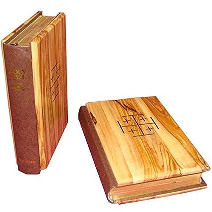 English Jerusalem Cross Bethlehem Gifts TM Olive Wood Bible La Santa Biblia Red-Letter King James Version Old and New Testament