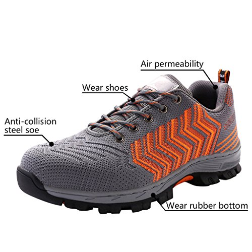 Gray Toe Men's Shoes Shoes Shoes Work Safety Orange Optimal Steel Y7xCqS8qw