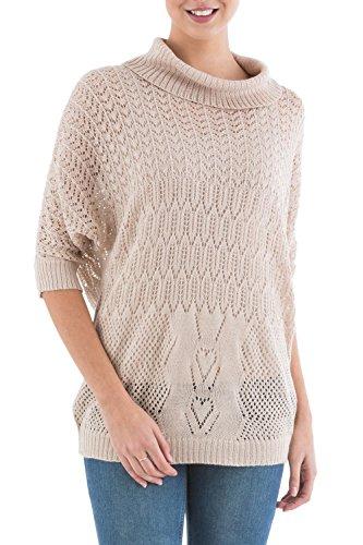 NOVICA Beige Alpaca Quarter Length Sleeves Pullover Sweater, 'Evening Flight'