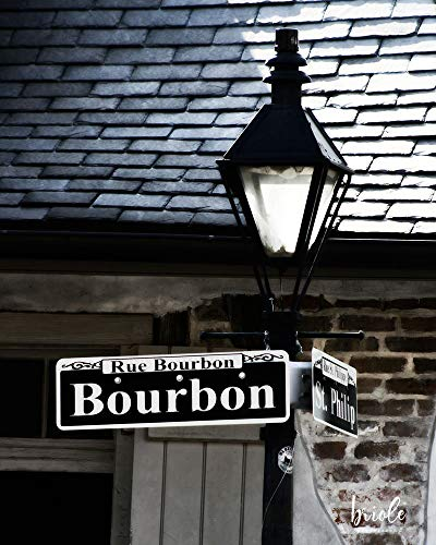 New Orleans French Quarter Bourbon Street Sign and Lamppost ()