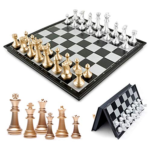 (TIJEASCXX Plastic Chess Chess Portable Game Folding Checkerboard Magnetic Chess Game )