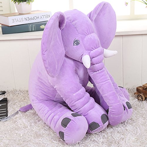 KiKi Monkey 24 inch Large Elephant Pillow Toys Baby Toddler Kids (Purple)