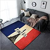 Vanfan Design Home Decorative Grunge flag of France French country with Eiffel Tower and text Modern Non-Slip Doormats Carpet for Living Dining Room Bedroom Hallway Office Easy Clean Footclo