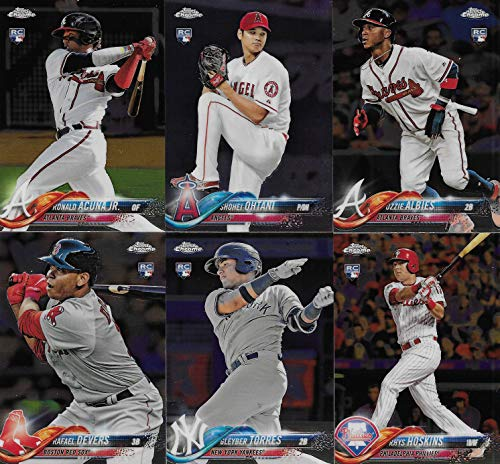 Baseball Complete Mint - 2018 Topps CHROME Baseball Series Complete Mint 200 Card Set with Rookies and Stars including Bryce Harper, Mike Trout, Shohei Otani, Gleyber Torres, Ronald Ocuna plus