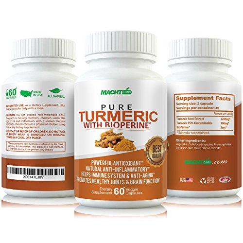 MLabs Pure Turmeric Anti-Inflammatory formula for Gout, Painful Joints and Rheumatoid Arthritis, 60 Capsules