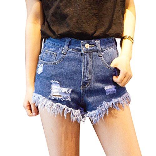 Cintura Casual Destrozados Azul Oscuro de Denim Mujer Xinwcanga Jeans Pantalones Cortos Corta Mezclilla Agujero Alta gqwAnZ1E