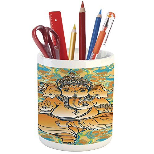Pencil Pen Holder,Elephants Decor,Printed Ceramic Pencil Pen Holder for Desk Office Accessory,Statue Over Floral Traditional Artwork Religious Culture Ornament