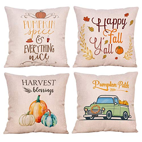 NYKKOLA Soild Linen Autumn Harvest Theme Throw Pillow Covers Set of 4, Decorative Pillowcase Cushion Cover for Sofa Bedroom Car 18 x 18 Inch 45 x 45 cm (Style 23)
