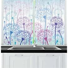 Ambesonne Dandelion Kitchen Curtains, Watercolor Abstract Floral Arrangement with Botany Inspirations Nature, Window Drapes 2 Panel Set for Kitchen Cafe, 55 W X 39 L Inches, Pale Blue Violet Pink