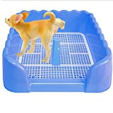 Portable Plastic Fenced Toilet Potty Pee Training Tray Litter Box For Dog Puppy Pet,Blue,L