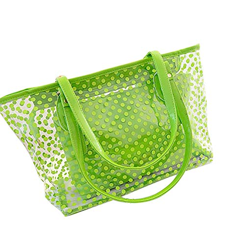 L-COOL PVC Large Waterproof Clear Shoulder Bag Beach Tote Bags Transparent Handbags With Interior Pocket For Women (Green)
