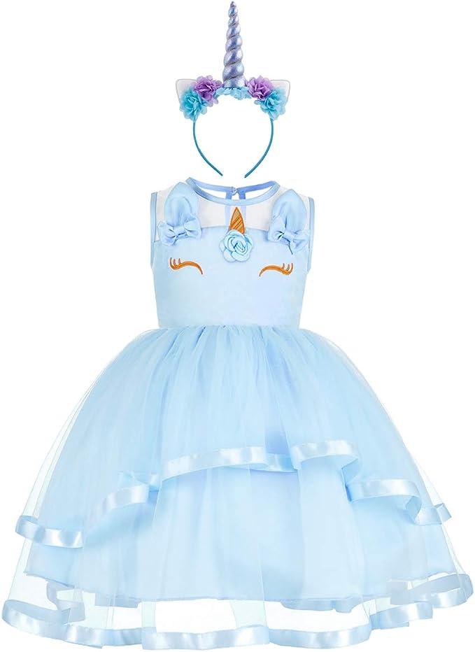 Vestido de Unicornio Fiesta Boda Niña Flor Tutu Princesa Disfraz ...