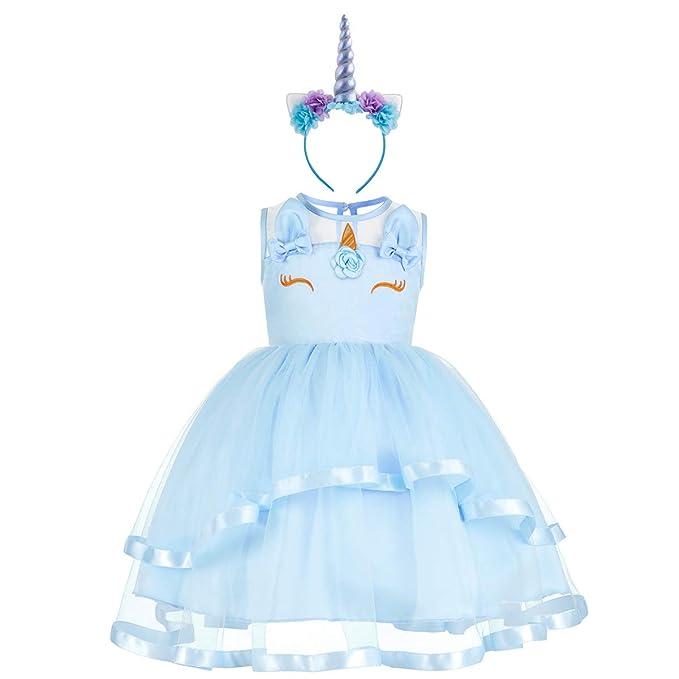 Vestido de Unicornio Fiesta Boda Niña Flor Tutu Princesa ...