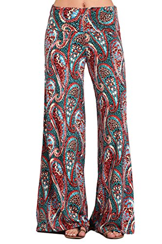 HEYHUN Womens Tie Dye Solid Wide Leg Bottom Boho Hippie Lounge Palazzo Pants - Red Multi - Medium