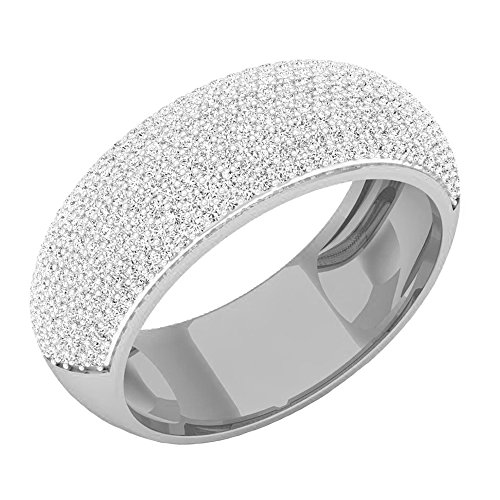 1.15 Carat (ctw) 10K White Gold Round Diamond Men's Micro Pave Hip Hop Wedding Band (Size 8) by DazzlingRock Collection