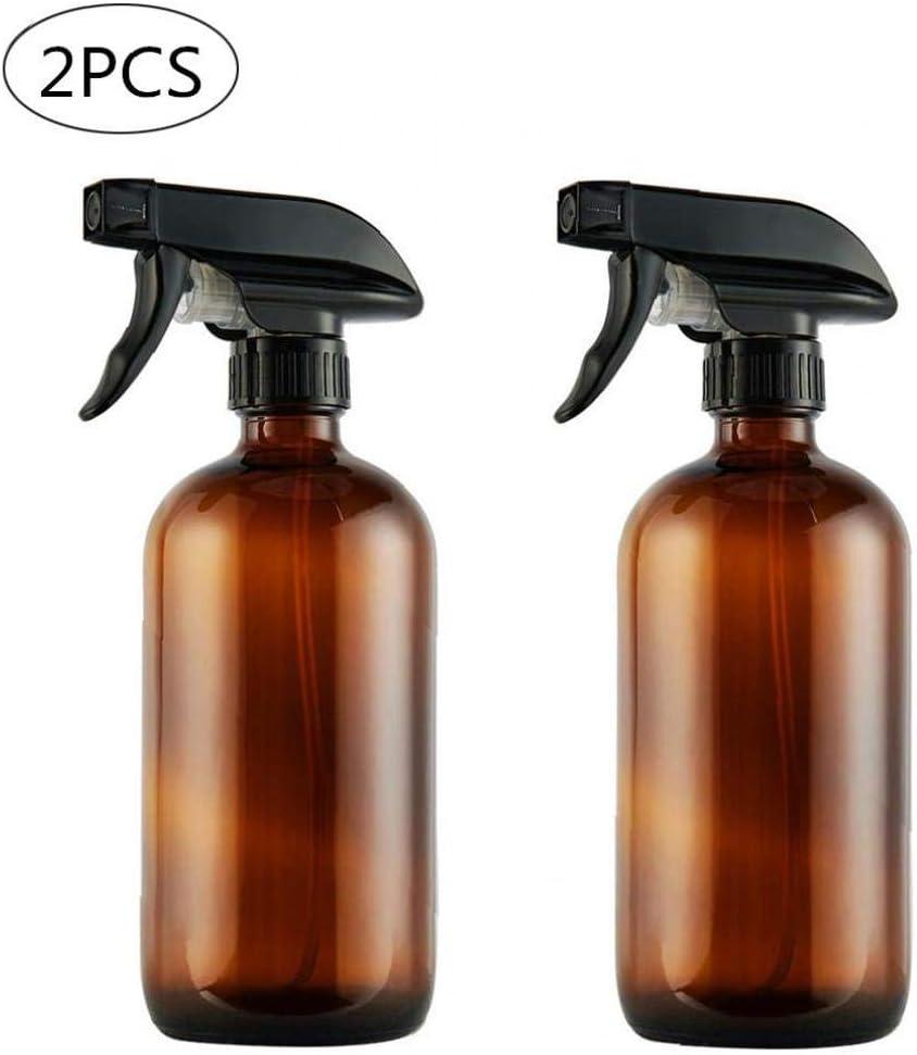 TOPofly 2pcs Vacío Ámbar De Cristal del Aerosol Botella Boston Botella Embalaje con Negro Atomizador Grande 17 Oz Recargable del para Aceites, Productos De Limpieza O Esencial De