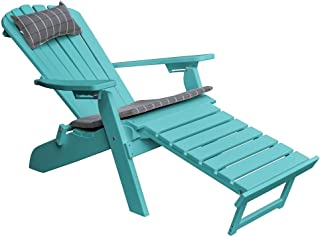 product image for Poly Folding & Reclining Adirondack Chair w/Attached Ottoman - Aruba Blue