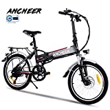 ANCHEER Folding Electric Bike with 36V 8Ah Removable Buit-in Lithium-Ion Battery, 20 inch Foldable Ebike with 250W Motor and 7 Speed Gears (White)