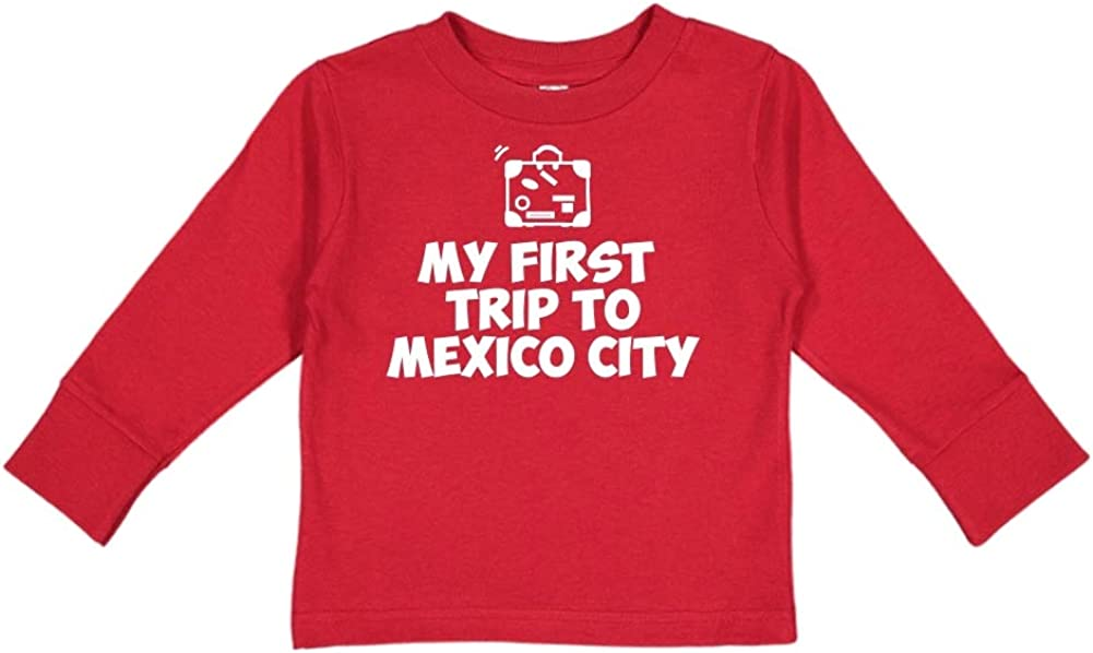 Toddler//Kids Long Sleeve T-Shirt Mashed Clothing My First Trip to Mexico City