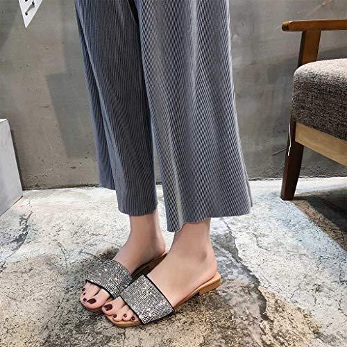 Negro Mujer Zapatos Zapatillas De Exterior Cuadrada Punta Longra Cristal Para pZzwpqE