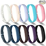 GreenInsync Bands for Fitbit Flex 2, Fitbit Flex 2 Silicone Sport Replacement Wristbands Strap Small with Metal Clasps and Fasteners for Fitbit Flex 2 Fitness Smart Watch Women Girls 10Pack