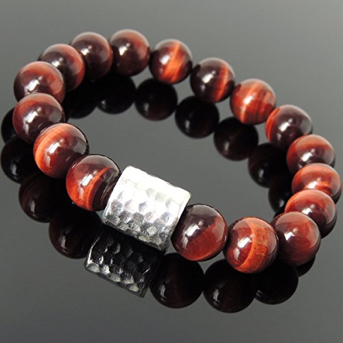Men and Women Bracelet Handmade with 12mm Red Tiger Eye and Genuine 925 Sterling Silver Seamless Barrel Bead (Tiger Barrel Eye)