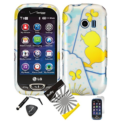 4 items Combo: ITUFFY (TM) LCD Screen Protector Film + Mini Stylus Pen + Case Opener + Blue Polka Yellow Rubber Duck Butterfly Design Rubberized Snap on Hard Shell Cover Faceplate Skin Phone Case for LG Extravert 2 VN280 (Yellow Duck)