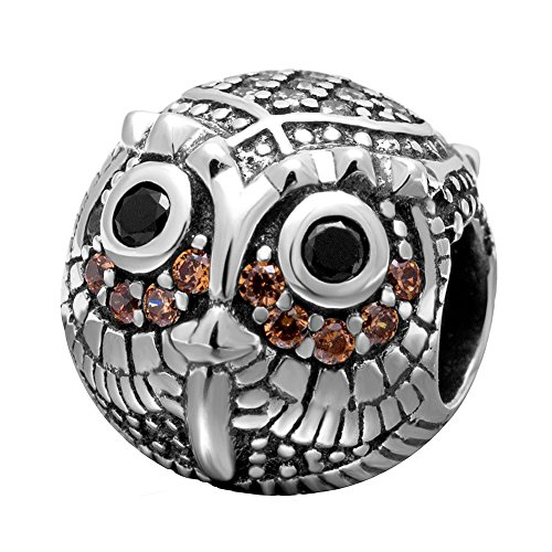 ZIYOU Wise Owl Charms for Charm Bracelets - 925 Sterling Silver Animal Beads, Bird Birthstones fit Bracelet, Necklace, and European Snake Chain. 'Back to School' Gifts for Friends, Boys and - Pugster January Charm