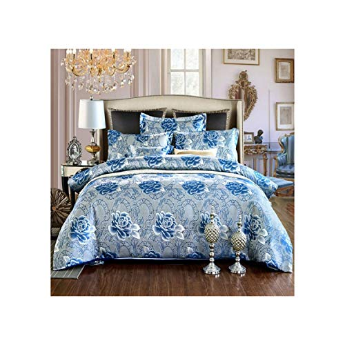 Wedding Luxury Bedding Sets Jade Color Jacquard Queen/King Size Duvet Cover Set Wedding Bedclothes Bed Sheet,A2019019,Duvet Cover220x240cm ()