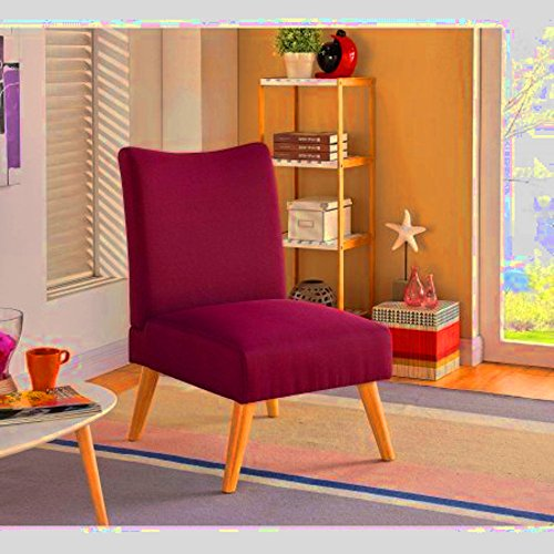 Bedroom Slipper Chair for Kids with Wood Legs, Wide Large Curved Armless Berry Slipper Accent Chair & E-Book by center
