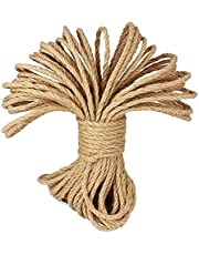 CC CAIHONG 100% Natural Soft Thick Strong Jute Rope 4 Ply Hemp Rope Cord for Arts Crafts DIY Decoration Gift Wrapping (6mm / 65 Feet)