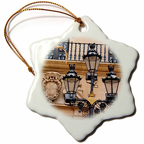 3dRose Danita Delimont - Lamps - Spain, Balearic Islands, Mallorca, street scenes, street lamp post. - 3 inch Snowflake Porcelain Ornament (orn_277907_1) by 3dRose