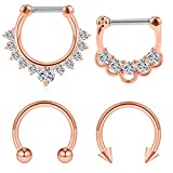 Ruifan 4PCS 16G Surgical Steel Horseshoe & Clear CZ Nose Ear Daith Septum Clicker Ring - Rose Gold