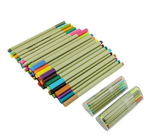 Finecolor Fineliner Color Pens set , Set of 48 Assorted Colors Pens 0.3mm with Plastic Pen Case & Pencil Pouch/ Water Base Ink Pens