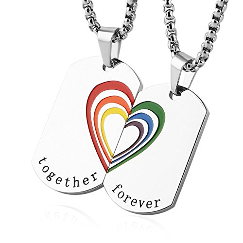 HZMAN Rainbow Heart LGBT Pride Dog Tag Stainless Steel Pendant Together Forever Couple Necklace Set - Together Forever Rings