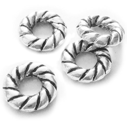 Heather's cf 80 Pieces Silver Tone Twist Annulus Close Circle Findings Jewelry Making 10mm (O)