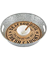 """Mud Pie Oyster DIP and Tray Set, 3"""" x 15"""" Dia   Knife 5 1/2"""" 2 1/2"""" x 4"""" Dia, Gray"""