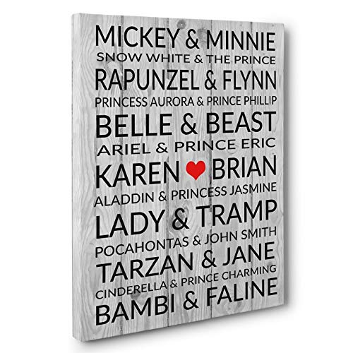 (Famous Disney Couples Personalized Wedding Anniversary Gift CANVAS Gallery Wrap)